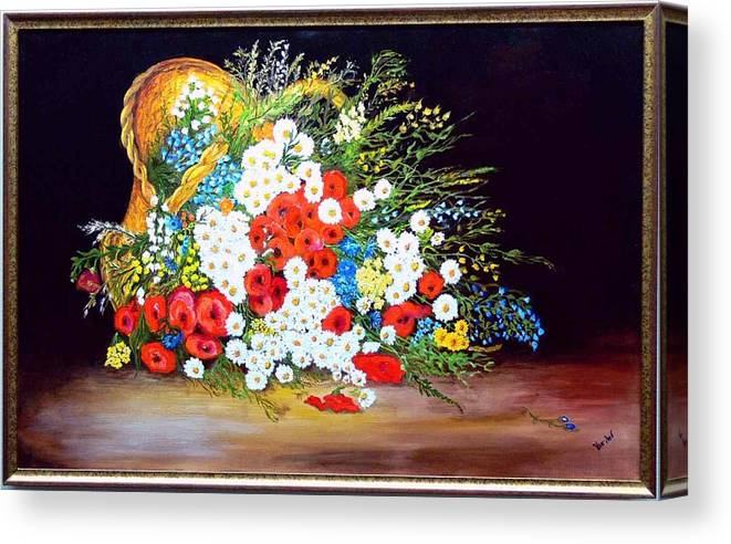 Summer Canvas Print featuring the painting Basket With Summer Flowers by Helmut Rottler
