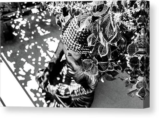 Buddha Canvas Print featuring the photograph Buddha In Black And White by Alexandra Nielsen