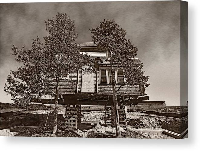 Cape Cod House In The Air Canvas Print featuring the photograph Cape Cod House by Victor Yekelchik