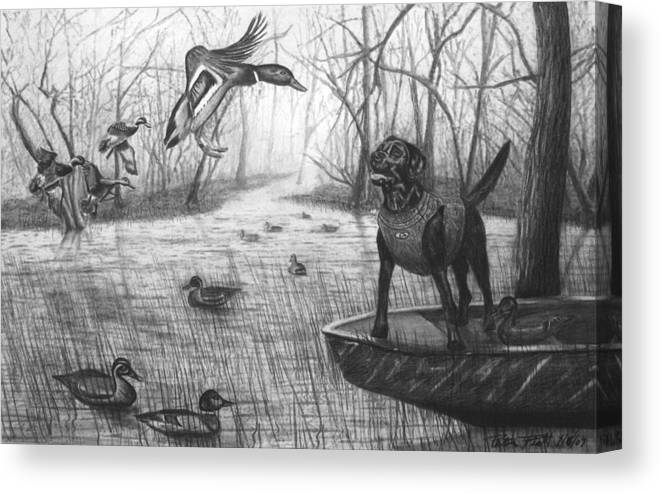 Cloaked Canvas Print featuring the drawing Cloaked by Peter Piatt