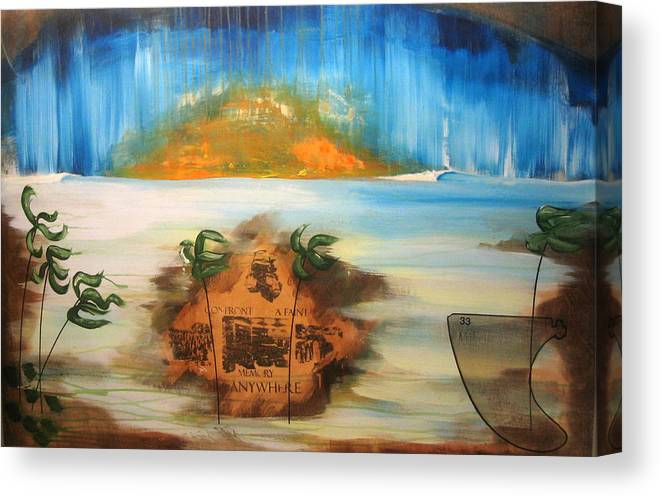 Sunset Canvas Print featuring the painting Confront A Faint Memory by Nathan Paul Gibbs