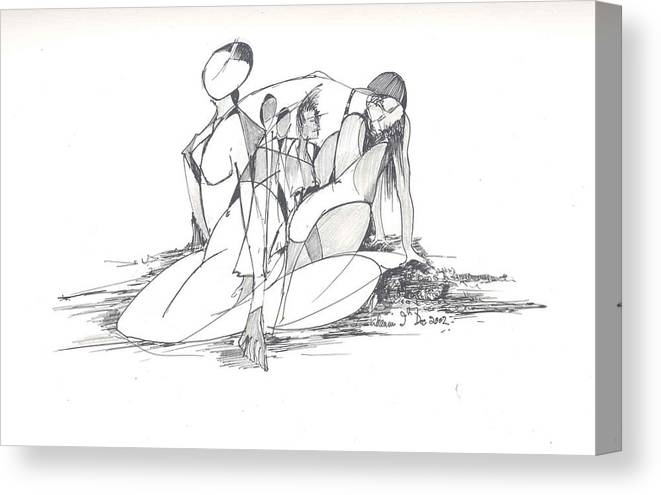 Women Canvas Print featuring the drawing Entangled Women by Padamvir Singh