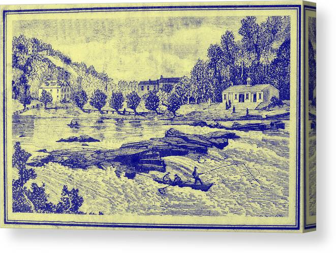 Falls Canvas Print featuring the photograph Falls Of The Schuylkill And Fort St Davids 1794 by Bill Cannon
