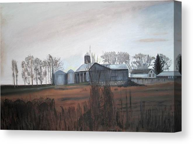 Farm Canvas Print featuring the painting Farm In The Fall by Keith Bagg
