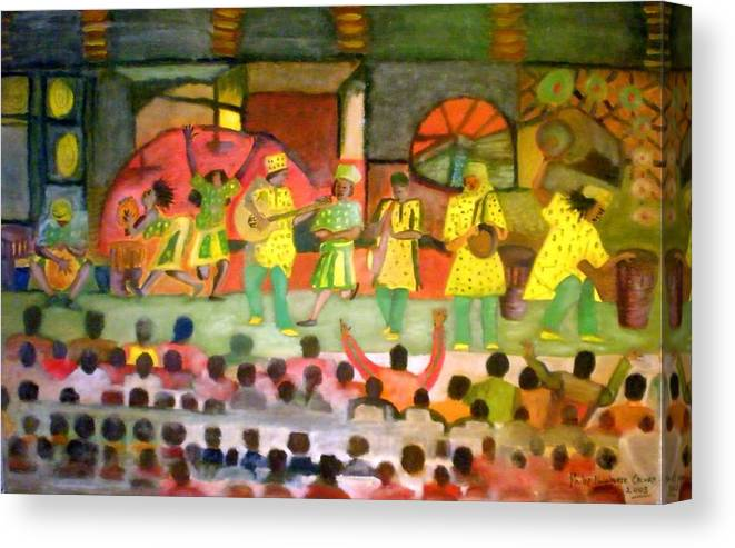 Musicians Canvas Print featuring the painting Folk Play by Philip Okoro