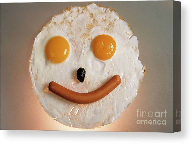 Agriculture & Food Canvas Print featuring the photograph Fried Breakfast Of Eggs And Sausage Made Into A Smiling Face by Sami Sarkis