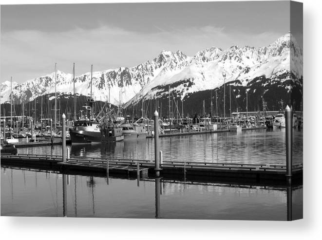 Black And White Canvas Print featuring the photograph Harbor Boats by Ty Nichols