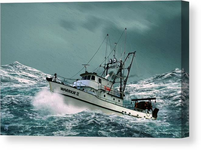 Fishing Vessel In A Rough Sea. Canvas Print featuring the digital art Heading For Shelter by John Helgeson