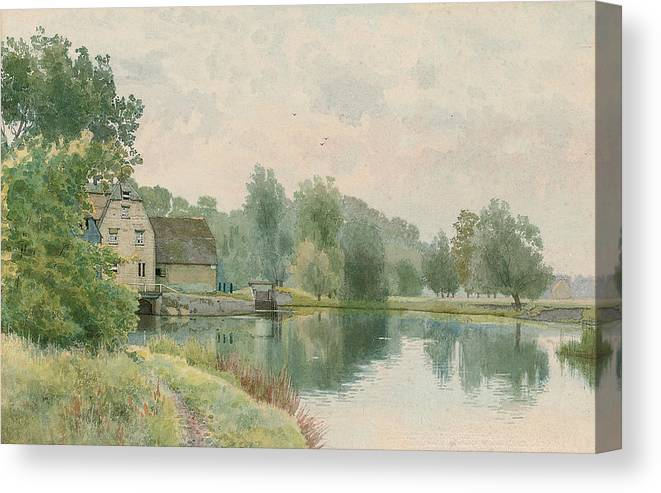 Landscape Canvas Print featuring the painting Houghton Mill On The River Ouse by William Fraser Garden