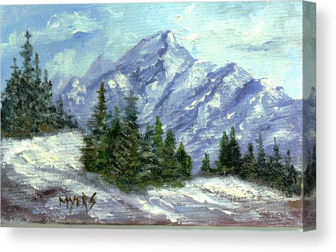 Ice Canvas Print featuring the painting Icy Mountain by Rhonda Myers