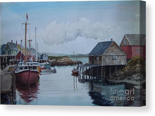 Harbor Canvas Print featuring the painting In The Harbor by Oscar Rayneri