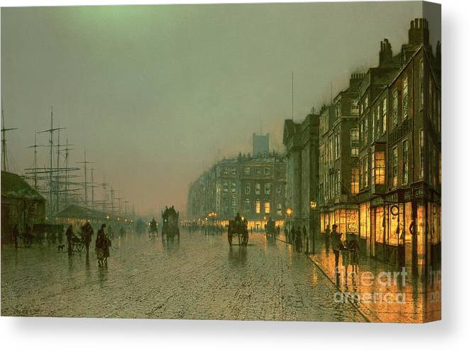 Liverpool Docks From Wapping Canvas Print featuring the painting Liverpool Docks From Wapping by John Atkinson Grimshaw