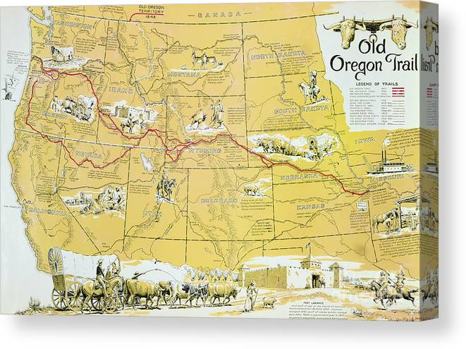 graphic regarding Oregon Trail Map Printable titled Map Of The Outdated Oregon Path Canvas Print