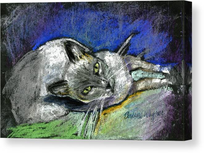 Cat Canvas Print featuring the pastel Michael Campbell by Arline Wagner