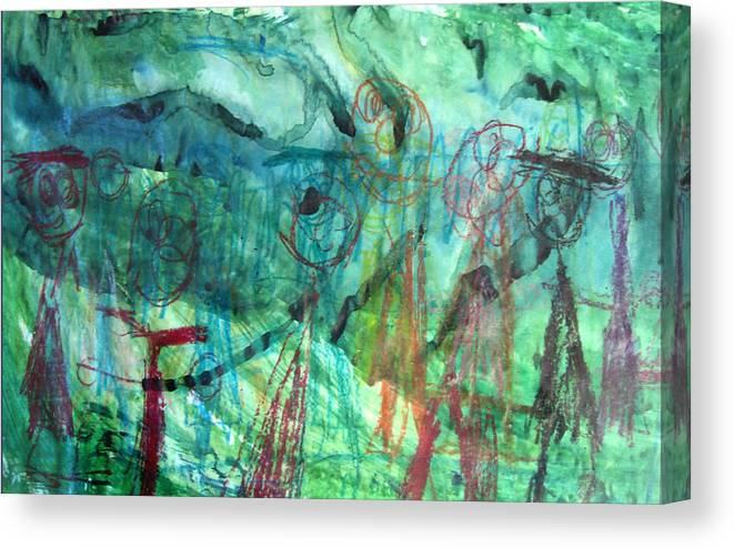 Alfred Resteghini Canvas Print featuring the mixed media My Family by Alfred Resteghini