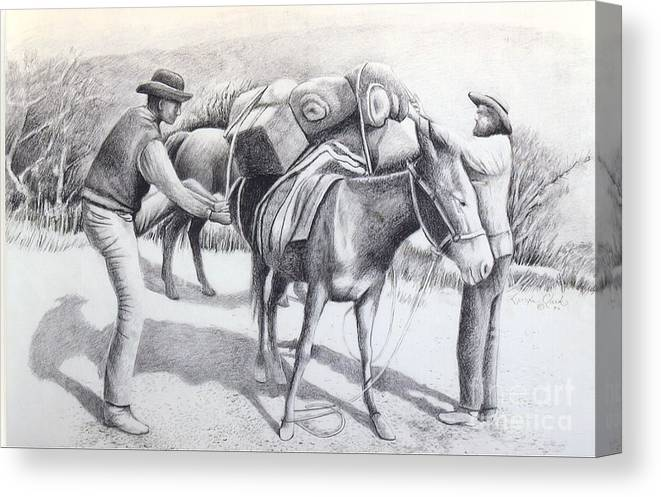 Western Canvas Print featuring the mixed media Packing Up by Lynda Clark