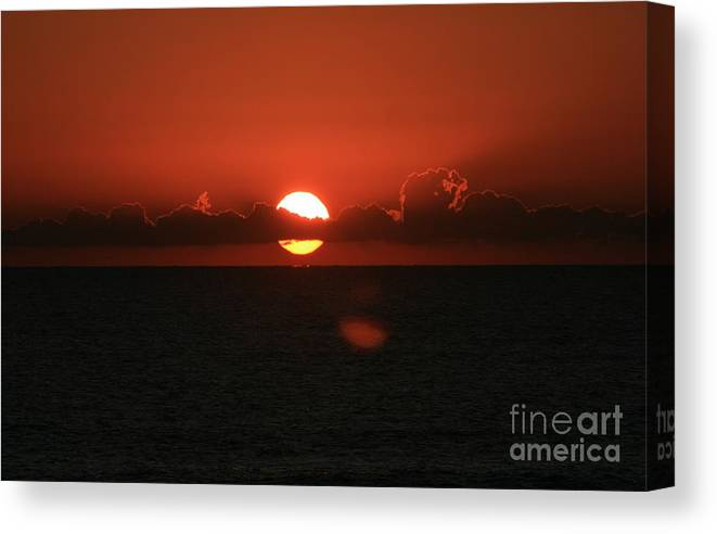 Sunset Canvas Print featuring the photograph Red Sunset Over The Atlantic by Nadine Rippelmeyer