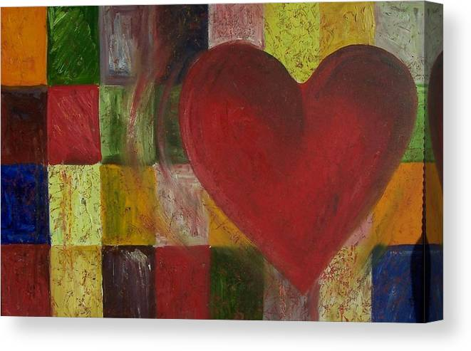 Heart Canvas Print featuring the painting Resilience After Jim Dine by Maria Milazzo