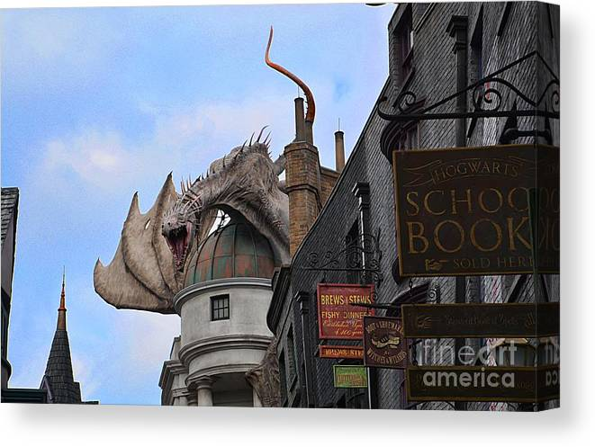 Dragons Canvas Print featuring the photograph Rooftop Dragon by Cindy Manero