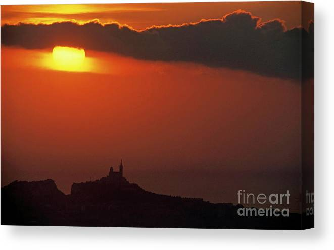 Beautiful Canvas Print featuring the photograph Silhouetted Cityscape Of Marseille At Sunset by Sami Sarkis