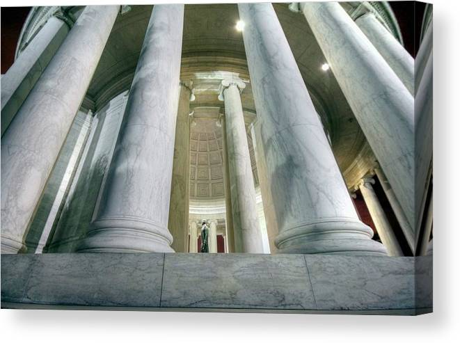 Jefferson Memorial Canvas Print featuring the photograph Stand Like A Rock by Mitch Cat