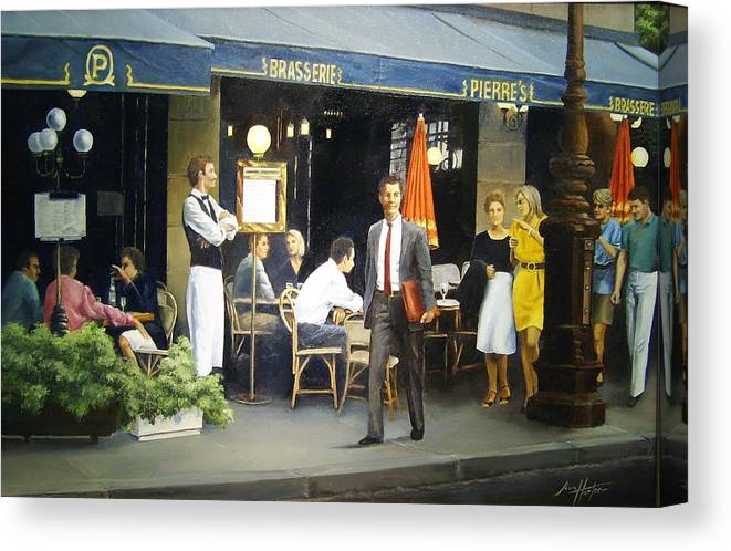 Street Scene Canvas Print featuring the painting Strolling By Pierre's by Jim Horton