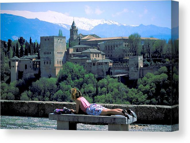 Girl Canvas Print featuring the photograph Student At The Alhambra by Carl Purcell