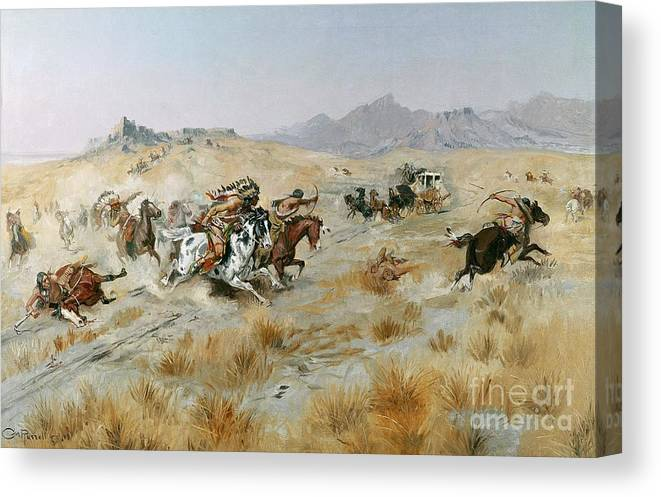 Bows Canvas Print featuring the painting The Attack by Charles Marion Russell