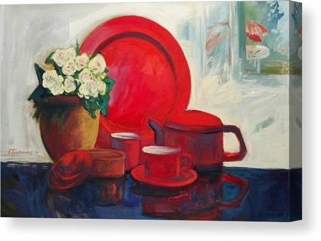 Still Life Paintings.paintings In Red Colors.red Color Paintings. Canvas Print featuring the painting The Red Still Life by George Siaba