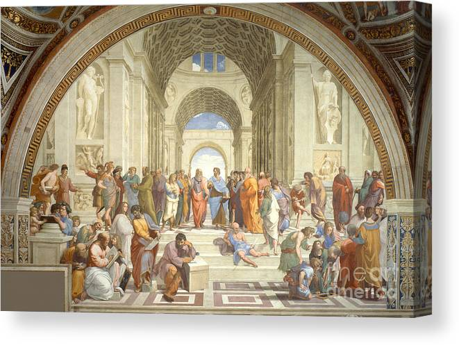 Science Canvas Print featuring the photograph The School Of Athens, Raphael by Science Source