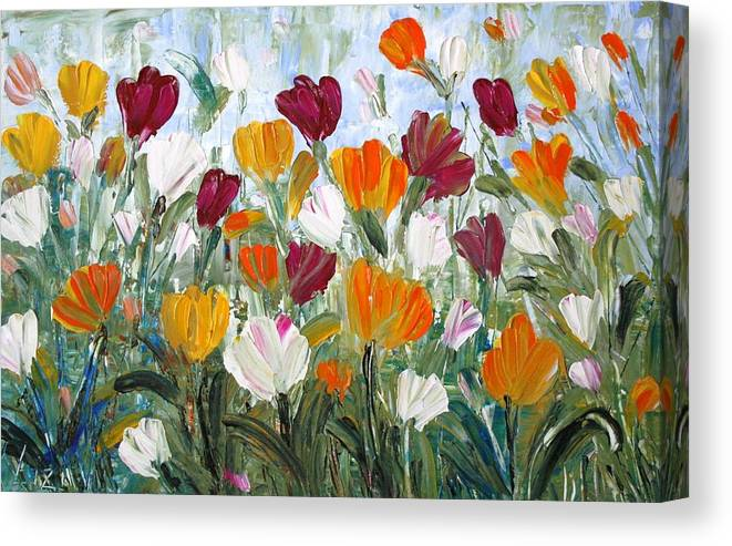 Oil Canvas Print featuring the painting Tulips Garden by Luiza Vizoli