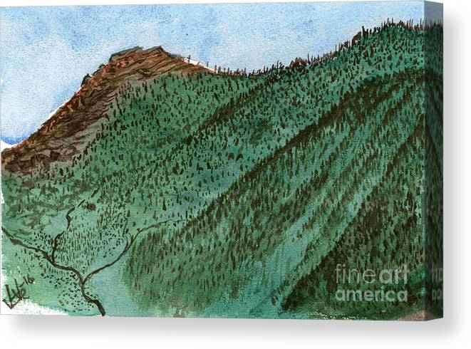 Mountains Canvas Print featuring the painting Ups And Downs by Victor Vosen