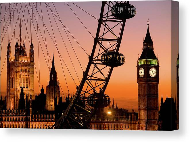 Clock Tower Canvas Print featuring the photograph London Eye And Big Ben At Dusk by Scott E Barbour