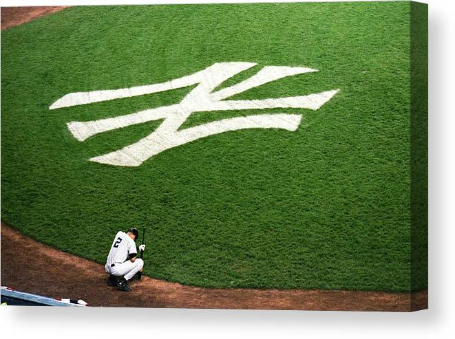 Grass Canvas Print featuring the photograph Derek Jeter 2 2 by Jamie Squire