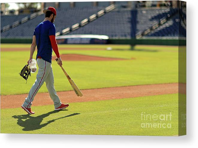 Working Canvas Print featuring the photograph Philadelphia Phillies Bryce Harper by Mike Ehrmann