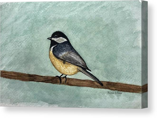 Animals Canvas Print featuring the painting Black Capped Chickadee by Michael Panno