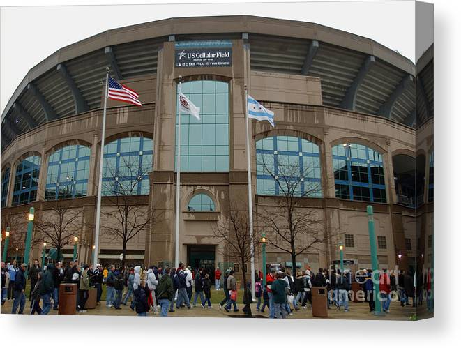 American League Baseball Canvas Print featuring the photograph Fans Enter Ball Park by Jonathan Daniel