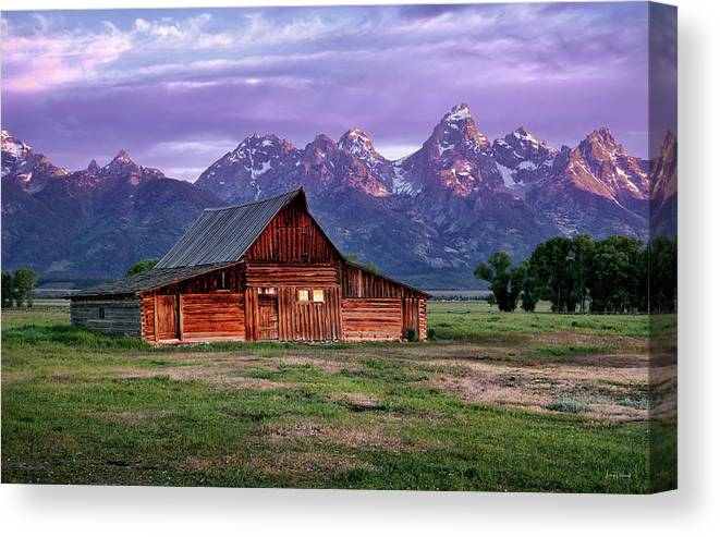 Moulton Barn Canvas Print featuring the photograph Moulton Barn Sunrise by Leland D Howard