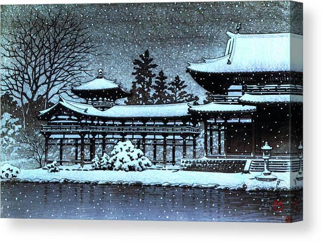 Kawase Hasui Canvas Print featuring the painting Night Snow In The Houodo - Digital Remastered Edition by Kawase Hasui