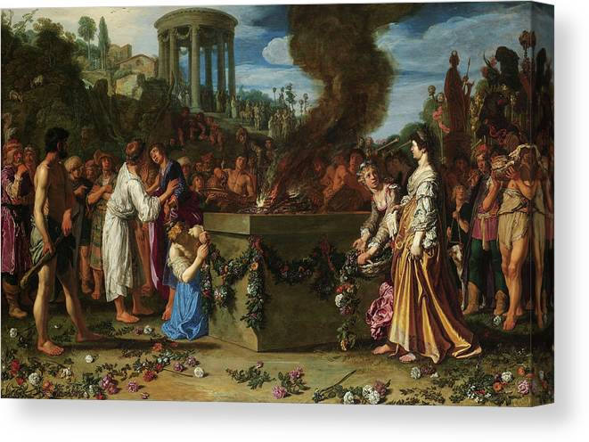 Pieter Lastman Canvas Print featuring the painting Orestes And Pylades Disputing At The Altar, 1614 by Pieter Lastman