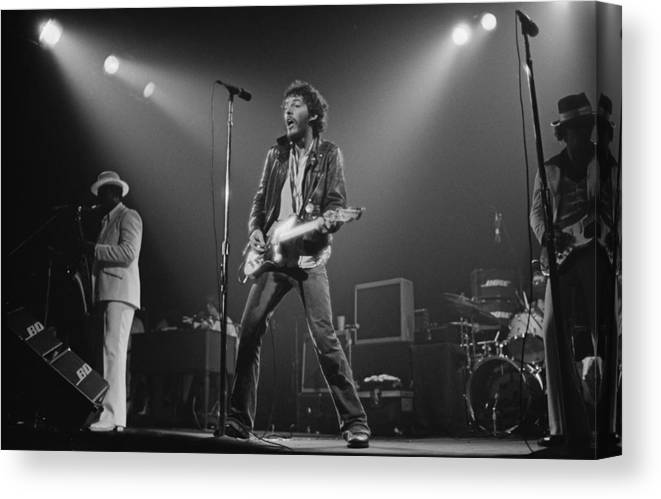 Music Canvas Print featuring the photograph Springsteen Live In New Jersey by Fin Costello