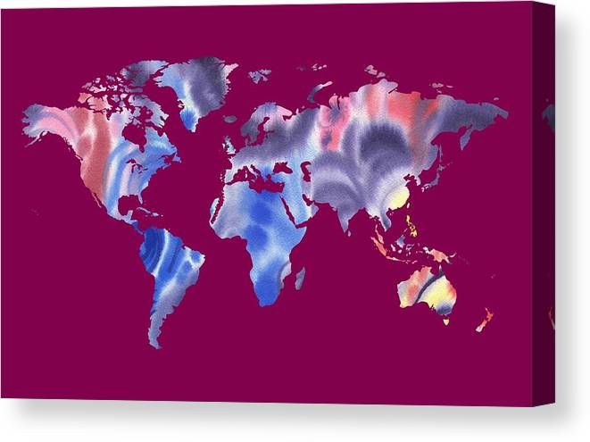 Purple Canvas Print featuring the painting Watercolor Silhouette World Map Png IIi by Irina Sztukowski