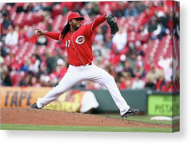 Great American Ball Park Canvas Print featuring the photograph Johnny Cueto by Andy Lyons