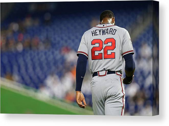 American League Baseball Canvas Print featuring the photograph Jason Heyward by Mike Ehrmann