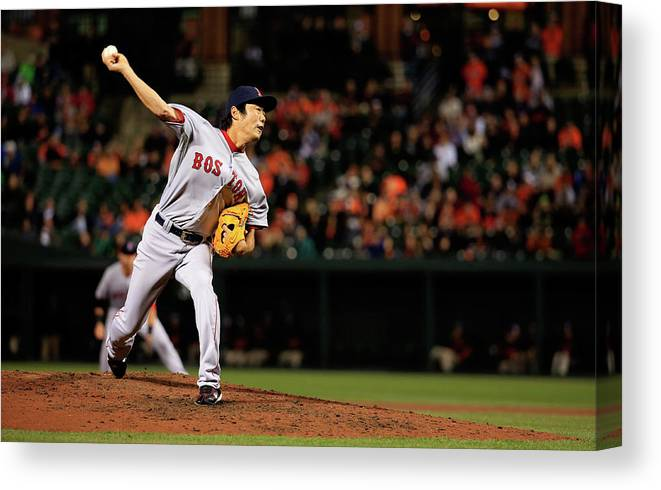 Ninth Inning Canvas Print featuring the photograph Koji Uehara by Rob Carr