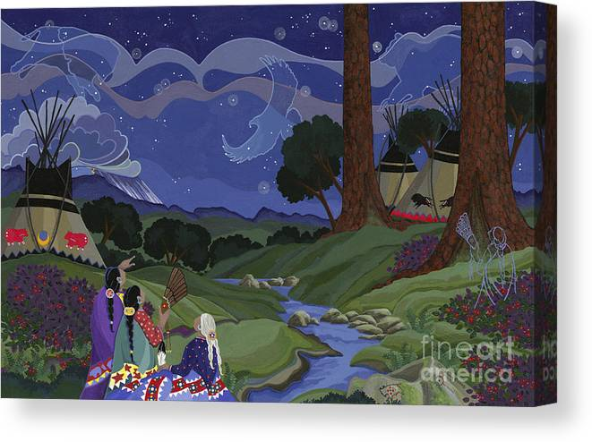 America Canvas Print featuring the painting Sighting Eagle On The Third Day by Chholing Taha