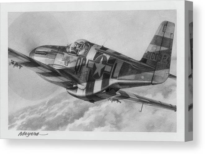 Aviation Art Canvas Print featuring the drawing The Kid by Wade Meyers