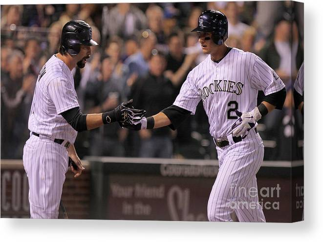 People Canvas Print featuring the photograph Todd Helton, Clayton Kershaw, And Troy Tulowitzki by Doug Pensinger
