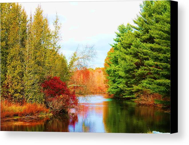 Landscape Canvas Print featuring the photograph Aspetuck River Easton Ct by Norberto Medina Jr