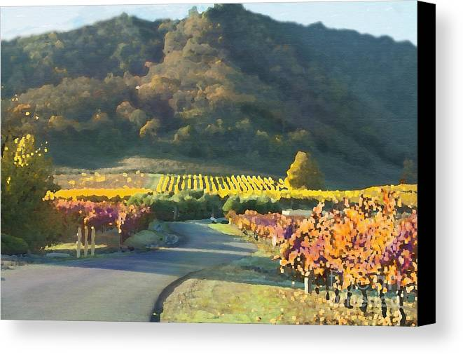 Corde Valle San Martin Ca Canvas Print featuring the painting The Hills Of Clos La Chance Winery by Artist and Photographer Laura Wrede